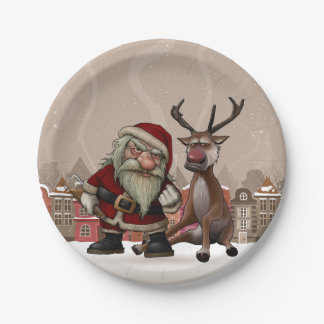 "Bad Santa Custom Paper Plates 7"""