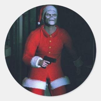 bad santa round sticker