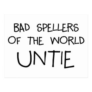 Bad Spellers Untie Postcard