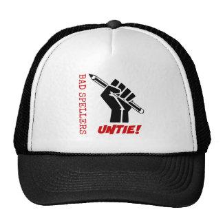 Bad Spellers Untie! Raised Fist Grammar Humor Trucker Hat