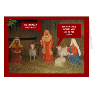 Bad taste nativity greeting card