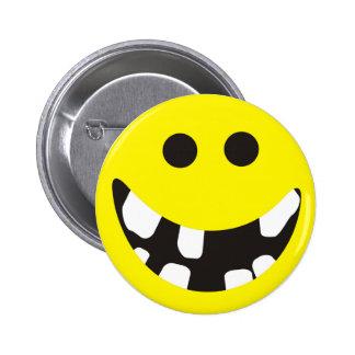 Bad teeth smiley pinback button