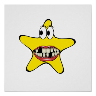 Bad Teeth Star Cartoon Print