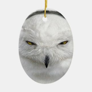 bad-tempered snowy owl ceramic ornament