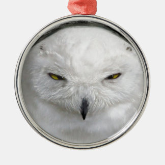 bad-tempered snowy owl metal ornament