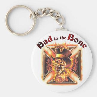 Bad to the bone basic round button keychain