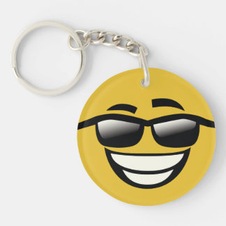 Bad to the Bone cool guy Emoji Single-Sided Round Acrylic Keychain