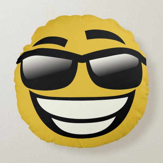 bad to the bone emoji round pillow