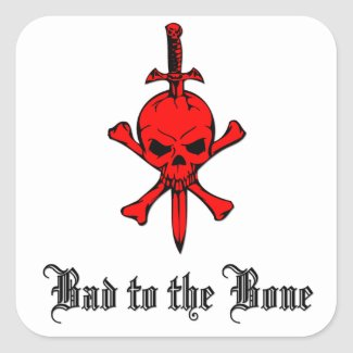 Bad to the Bone Red Skull Square Sticker