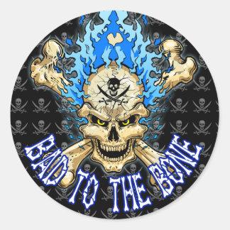 Blue flaming skull and crossbones