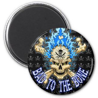Bad to the Bone Skull 2 Inch Round Magnet