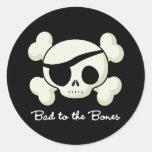 Bad To The Bones Round Stickers