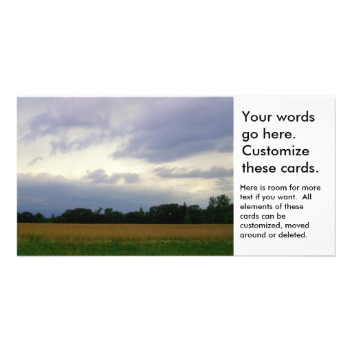 Bad weather approaching farm fields storm clouds customized photo card