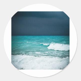 Bad weather seascape classic round sticker