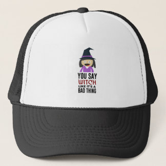 Bad Witch Good Witch Halloween Design Trucker Hat
