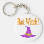 Bad Witch! Purple Hat Halloween Design Keychains