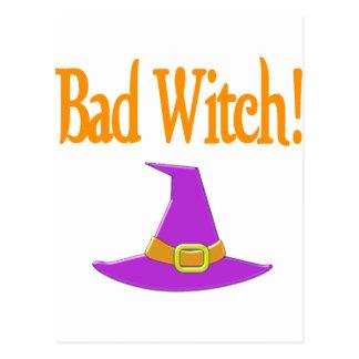 Bad Witch! Purple Hat Halloween Design Postcard