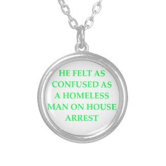 bad writing round pendant necklace