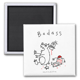 Badass Bear Guy 2 Inch Square Magnet