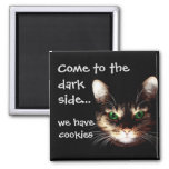 """Badass Cats - """"Dark Side has Cookies"""" 2 Inch Square Magnet"""
