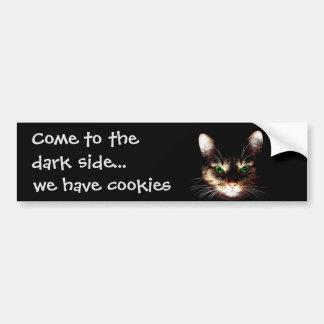 "Badass Cats - ""Dark Side has Cookies"" Bumper Sticker"