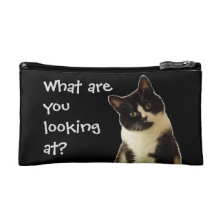 "Badass Cats ""What are you looking at!"" Cosmetic Bag"