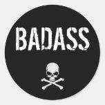 BADASS CLASSIC ROUND STICKER