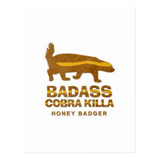 Badass Cobra Killa Honey Badger Postcard