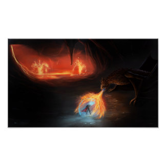 Badass dragon fight in a cave posters