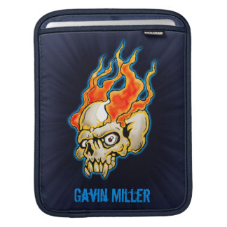Badass Flaming Half Skull design Sleeve For iPads