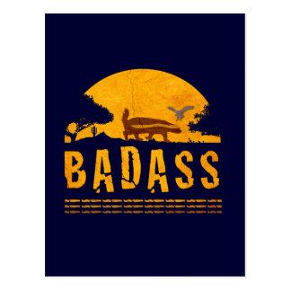 Badass Honey Badger Sunset Vintage Navy Blue Postcard