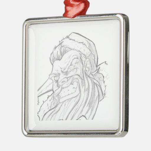 Badass Papá Noel con una sonrisa malvada Adorno Navideño Cuadrado De Metal