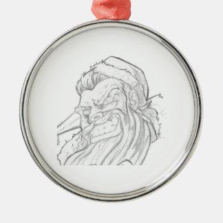 Badass Papá Noel con una sonrisa malvada Adorno Redondo Plateado