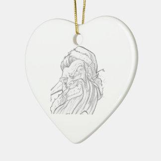 Badass Papá Noel con una sonrisa malvada Adorno De Cerámica En Forma De Corazón