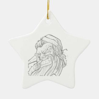 Badass Papá Noel con una sonrisa malvada Adorno De Cerámica En Forma De Estrella