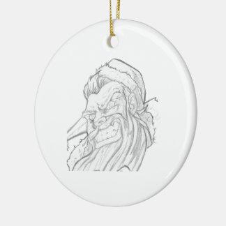 Badass Papá Noel con una sonrisa malvada Adorno Redondo De Cerámica