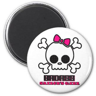 Badass Sailor's Girl 2 Inch Round Magnet