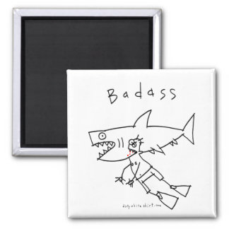 Badass Shark Guy 2 Inch Square Magnet