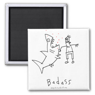 Badass Shark Punch 2 Inch Square Magnet