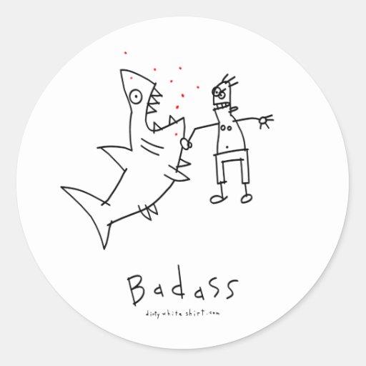 Badass Shark Punch Classic Round Sticker