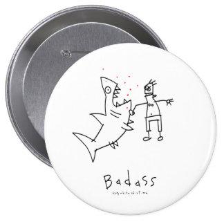 Badass Shark Punch Pinback Button