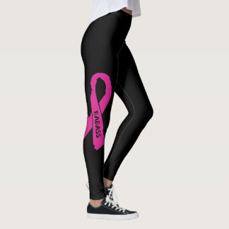 Badass/ torn ribbon...Breast Cancer Leggings