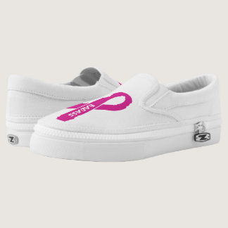 Badass/ torn ribbon...Breast Cancer Slip-On Sneakers