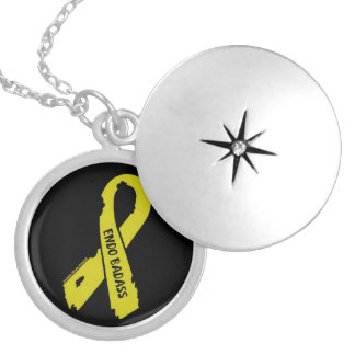 Badass/ torn ribbon...Endometriosis Silver Plated Necklace