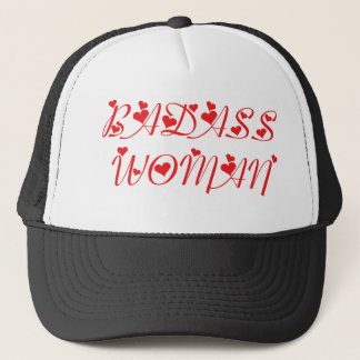 BADASS WOMAN  RED TRUCKER HAT
