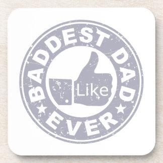 Baddest Dad Ever - Grey Beverage Coaster