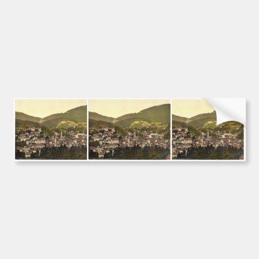 Baden-Baden, visión general con el castillo, Baden Pegatina De Parachoque