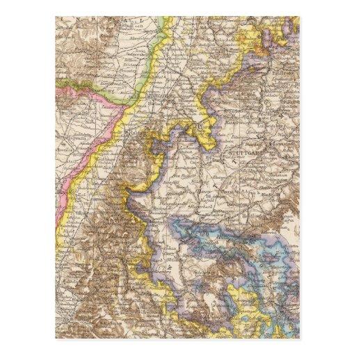 Baden Germany Atlas Map Postcard