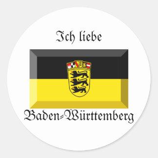 Baden-Wuerttemberg Flag Gem Round Stickers