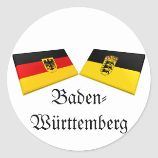 Baden-Wuerttemberg, Germany Flag Tiles Classic Round Sticker